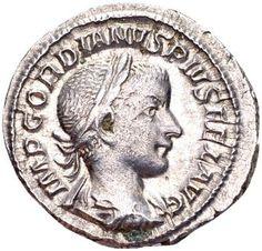 Roman Empire - Silver Denarius of child emperor Gordianus III (238-244 AD), minted in Rome.