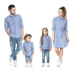 Are you looking for coordinating family outfits for your cute family!Here are 21 matching family outfits! Camo Pants Outfit, Denim Outfit, Latest Outfits, Teen Fashion Outfits, Summer Family Photos, Mother Daughter Fashion, Long Sleeve Shirt Dress, Dress Shirt, Stripes Fashion