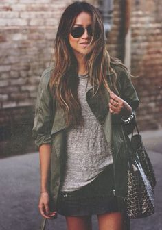 Street style. green army jacket and skirt  pinterest @esib123