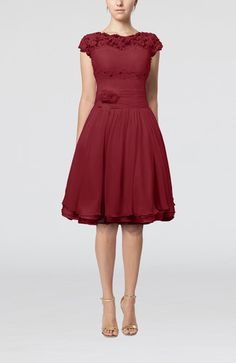 Dark Red Cinderella Scalloped Edge Short Sleeve Chiffon Knee Length Lace Bridesmaid Dresses - iFitDress.com