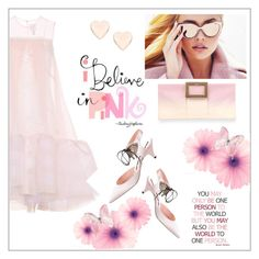 """""""I believe in pink"""" by frenchfriesblackmg ❤ liked on Polyvore featuring HUISHAN ZHANG, Rochas, Roger Vivier, WALL and Ted Baker"""