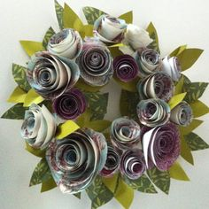 paper flower wreath - A use for some of my scrapbook paper and old sheet music!