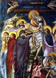 """""""When the Pious Joseph saw that the sun had hidden its rays, and the veil of the Temple had been rent at the death of the Saviour, he did approach Pilate and did plead with him crying and saying: """"Give me this stranger who from His. Byzantine Art, Byzantine Icons, Joseph Of Arimathea, Orthodox Christianity, Holy Week, Orthodox Icons, Ancient Art, Fresco, Faith"""