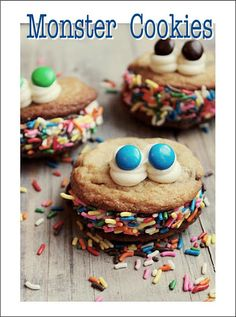 The Cutest Monster Cookies-Perfect for a Monster-themed or Halloween party....or for a kids birthday party. Get the RECIPE