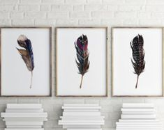 Printable art Set of 3 prints Feather print by TwoBrushesDesigns