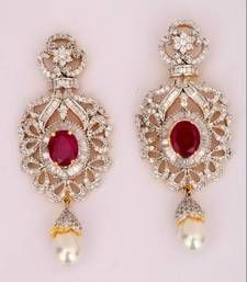 491c2246760 Maroon stones american diamonds danglers with a pearl drop
