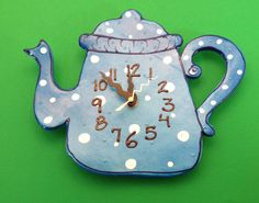 New to PondScumCeramics on Etsy: Kitchen wall clockTeapot Clock Teapot wall clockHousewares Hand painted clock Children's wall clock (48.00 USD)