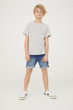 Super Soft Denim Shorts - Denim blue - Kids | H&M US 1 Trendy Boy Outfits, Cute Baby Boy Outfits, Boys Summer Outfits, Toddler Outfits, Kids Outfits, Cute 13 Year Old Boys, Young Cute Boys, Cute Teenage Boys, Young Boys Fashion