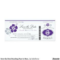 Save the Date Boarding Pass to Hawaii Card Your guests will love to receive this fun Boarding pass wedding save the date! Graphics are in color Dark Royal Purple and Silver Gray. If the color scheme is not what you wanted please let me know and I'll recreate that for you. paula@labellarue.com Please make sure you proof your design before submitting your order. If you have questions regarding the design please let me know and I'll be happy to assist you regarding the design however once the…