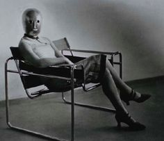 Lis Beyer or Ise Gropius seated in the stell-tube armchair designed by Marcel Breuer, 1926