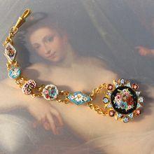 Antique Micro Mosaic watch chain, 19th century