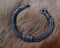 Wolfs Heads Oseberg Sterling Silver Viking by BerlogaWorkshop