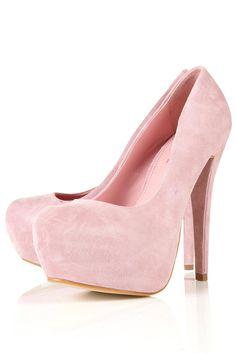 soft pink suede pumps.