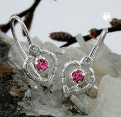 Brisur, Herz Glasstein pink, Silber 925  Verschluss vor dem Ohr