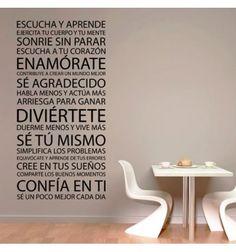 Vinilo barato decorativo lleno de consejos: escucha y aprende, sonrie sin parar, enamorate, duerme menos y vive mas, Confía en ti