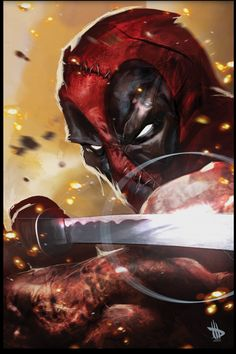 Deadpool- this is a sweet picture~I love the fact that he looks so serious and anyone who had no clue who he really was would be like he must be so tough and mean and is like the Marvel version of Batman. He's not, he's really not.