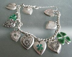 "Victorian sterling ""good luck"" charm bracelet.  Enamel hearts are Walter Lampl"