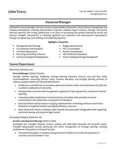 Finance Manager ResumeResume ExamplesFinanceManagementEconomics