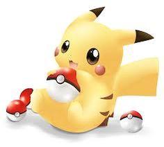 Pikachu acting cute with Pokeballs.