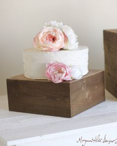 Love the stand and the simple cake w/ flowers Small Cake Stand Rustic Wedding Decor Item Number by braggingbags