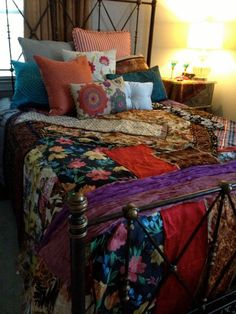 Gypsy Boho Bedspread Bedding Blanket- Bohemian Anthropologie Quilt Inspired Moroccan Glamping OOAK Repurposed Upcycled Textiles Ideas for the home Decor, Interior, Bohemian Bedroom, Home Decor, Bed, Bed Bath And Beyond, Bedroom Decor, Trendy Bedroom, Bed Comforter Sets