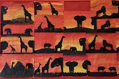 Sunset in Africa - kunst Animal Crafts For Kids, Art For Kids, Africa Silhouette, Let's Make Art, African Crafts, 4th Grade Art, Art Therapy Activities, Africa Art, Art Drawings For Kids