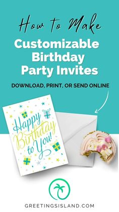 Impress your guests with beautiful custom invitations for your next party. With Greetings Island, you can customize invitations and even send them online! With numerous categories to choose from, you'll find the perfect invitations for your party. Start browsing today! #custominvitations #custominvites Birthday Party Invitations, Birthday Cards, Happy Birthday, Custom Invitations, Invitation Cards, Party Guests, For Your Party, Birthdays, Greeting Cards