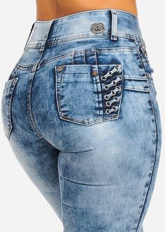 & Imbracaminte Femei CheapChic Acid Wash Mid Rise Butt Lifting Lace Up Side Inset 2 Button Skinny Jeans Multicolor Best Jeans For Women, Recycle Jeans, Girls Jeans, Ladies Jeans, Sexy Jeans, Ripped Skinny Jeans, Shorts, Nice, Perfect Legs