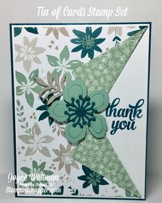 A simple creative fold thank you card using the Blooms & Bliss DSP, Tin of Cards stamp set and the Botanical Builder Framelits from Stampin' Up!