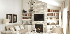 Living rom fireplace, tv with built in shelving