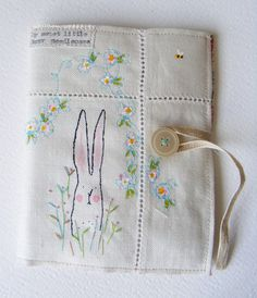 Handmade NEEDLE CASE Screen printed Bunny with hand by hensteeth, $36.50
