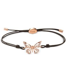 Fossil Bracelet, Rose Gold-Tone Butterfly Black Leather Cord Bracelet - Fashion Jewelry - Jewelry & Watches - Macy's