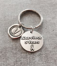 I am Cancer Free, Cancer Free, 5 YEARS, Cancer Survivor, FIVE YEARS, chronic illness, Quote, Silver Keychain, Silver Keyring, Gifts by SAjolie, $17.95 USD