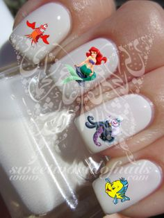Disney Nail Art Little Mermaid Nail Water Decals Transfers Wraps