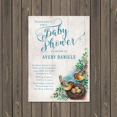 Bird Baby Shower Invitation, Bird Nest Baby Shower Invitation, Feather the Nest, Bless the Nest, Gender Neutral, Printable or Printed