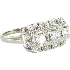 Three Diamond Vintage Anniversary Ring 14 Karat White Gold Estate Fine Jewelry 8