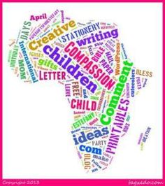 A fun way to share your world; with your country's shape outline and a word cloud generator - using words to describe your country; and you can do it in your child's language | https://papergiftsforestefany.wordpress.com/ @compassion  #letterwriting #childsponsorship #kids #forkids  #freeprintable  #printables