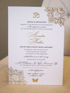 Indian Wedding, Gold Foil, Invitation, Sophisticated, OM Symbol, Mandala, Indian Fusion Wedding, Hindi