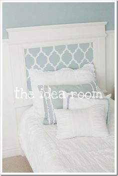 diy headboard and bed frame.  Love the stenciling and the color.  #girls room