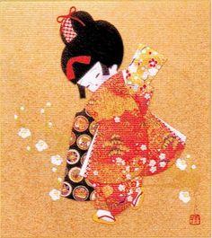 Japanese Kurumi-e Fabric (Warabe-Japanese Girls Series) - Early Spring - Best Japan