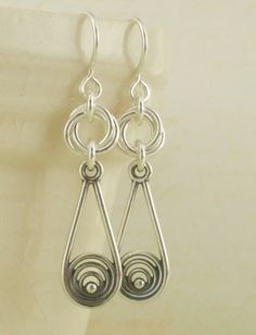 Sterling Silver Circles in a Pear Earrings. $30.00, via Etsy.