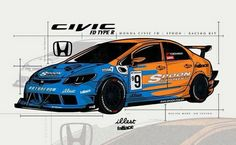 Rendering of Spoon Sports' Time Attack Voiture Honda Civic, Honda Civic Vtec, Honda Civic Type R, Honda Cars, Jeep Cars, Japanese Domestic Market, Script Typeface, Car Vector, Drifting Cars