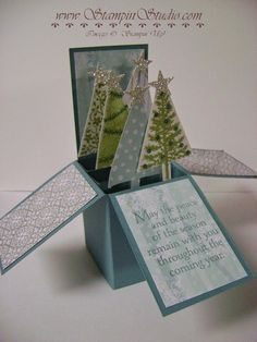 Stampin' Studio, Stampin' Up! Festival of Trees, All is Calm DSP, Card in a Box