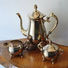 Coffee pot, creamer and lidded sugar dish. Coffee pot is high to the top of finial on lid and ( weight. Some marks (patina) and light wear. Still Life Pencil Shading, Coffee Service, Pot Sets, Cream And Sugar, Espresso Coffee, Cup And Saucer, Vintage Silver, Gifts For Mom, Silver Plate