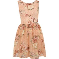 Miss Selfridge Petites Printed Lace Dress ($38) ❤ liked on Polyvore featuring dresses, vestidos, robes, floral, pale pink, petite, prom dresses, pale pink prom dresses, petite prom dresses and floral print dress