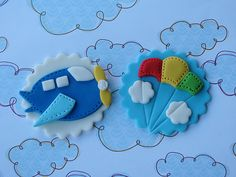 Aeroplanes and Parachutes Cupcake Toppers