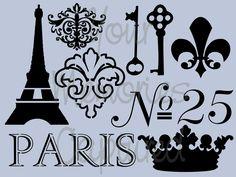 Vive la France Reusable Stencil - for fabric, wood, paper, canvas, walls - 5.5x8. $15.00, girls room