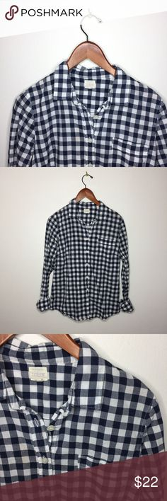 "J.Crew ""Perfect Shirt"" Gingham Button Up. In excellent pre loved condition. No flaws. No trades. J. Crew Tops Button Down Shirts"