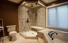 Glass wall corner shower   Modern Master Bathroom Remodel