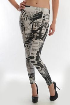 Amazon.com: Newspaper Multi Print Black White Stretch Leggings - Lg: Clothing
